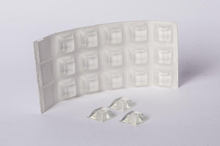 Abstandshalter selbstklebend klar, PU 20 x 20 x 7,5 mm / 1 VE = 78 Stück