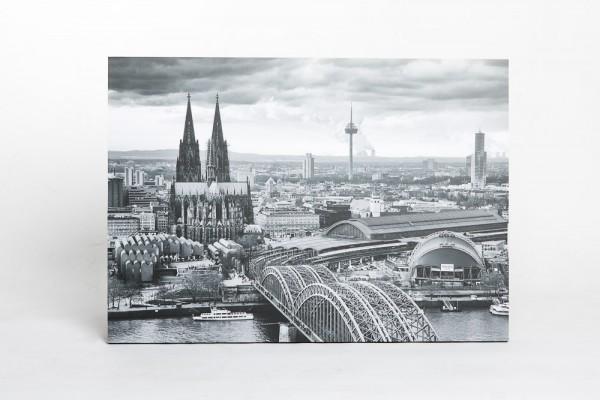 """Blockrahmen 50 x 70 cm """"Köln von Oben"""" schwarz/weiß"""